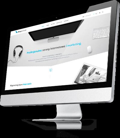 Wizualizacja nowej strony internetowej na dużym ekranie komputera