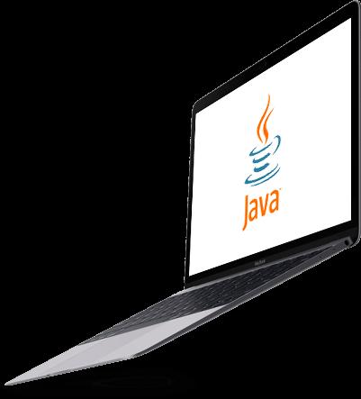 Ekran z logo Java na laptopie,który jest w powietrzu
