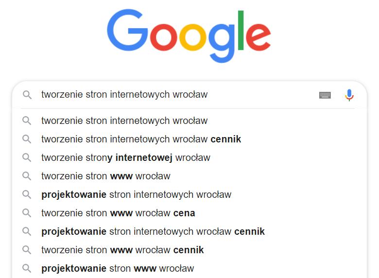 przykład wyszukiwania w google